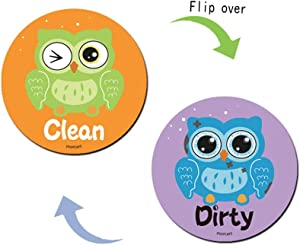 Morcart Dishwasher Magnet Clean Dirty Universal Double Sided Dish Washer Magnet Sign, Funny Owl Magnetic Indicator for Kitchen Dishes