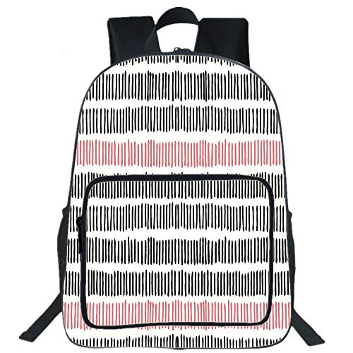 "Abstract 16"" School Backpack, Waterproof Laptop Bookbag,Hand Drawn Short Vertical Lines Retro Horizontal Stripes Hipster Doodle,Multi-Functional Travel Backpack for Kids & Adults Black Coral White"