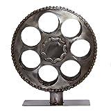 NOVICA Metallic Recycled Metal Decorative Wine Holders, 'Film Reel'