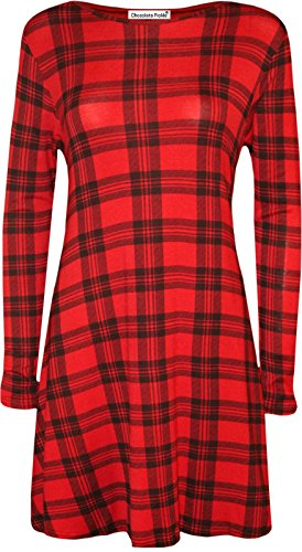 Hem Tartan Hanky Printed Size Plus Click Dress Selfie Swing Long Sleeve Red Dress New Womens qq1PvfwHB