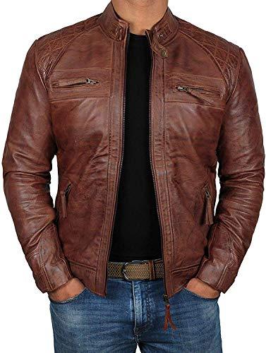 Decrum Brown Mens Vintage Biker Distressed Genuine Leather Jackets  [1100083] D 1 Tan, M