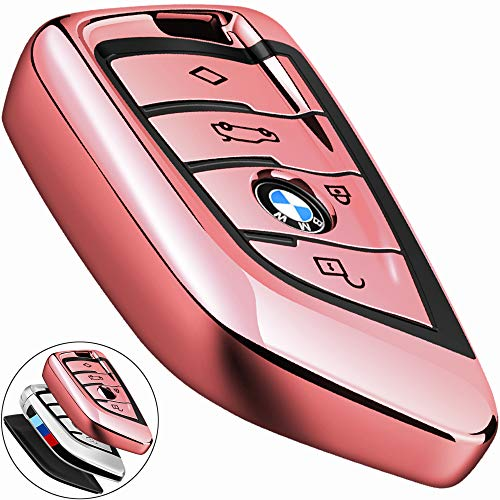 COMPONALL for BMW Key fob Cover, Key Fob Case for BMW 2 5 6 7 Series X1 X2 X3 X5 X6 Premium Soft TPU Anti-dust Full Protection Rose Gold