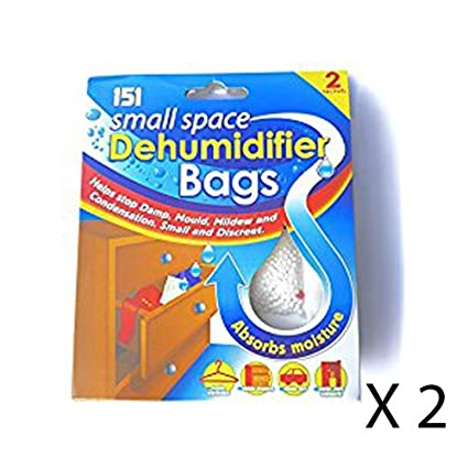 2 x SMALL SPACE DEHUMIDIFIER BAGS STOP DAMP MOULD MILDEW ABSORB MOISTURE