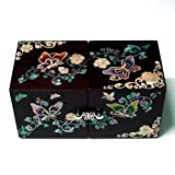 Mother of Pearl Twin Cubic Butterfly Travel Asian Lacquer Brown Wooden Jewelry Trinket Keepsake Treasure Gift Drawer Jewel Box Case Holder Organizer with Arabesque Flower Design