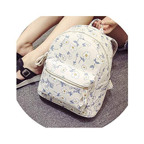 (Summer Flower Backpack Mini Flower Girl Shoulder Bag Leather Travel Backpack Schoolbag,White A,26X15X30CM)