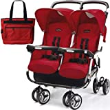 Peg Perego 2011 Aria Twin 60 40 with a Diaper Bag – Geranium Red, Baby & Kids Zone