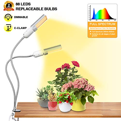 Bozily LED Grow Lights for Indoor Plants,45W Sunlike Full Spectrum Dual Head Gooseneck Plant Lights with Replaceable Bulbs, Dimmable Professional Sunlight Grow Lamp for Seeds Starting Plants Growing