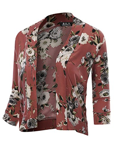 Galleon - BILY Women s Classic Open Front Cropped 3 4 Sleeve Floral Print  Cardigan 12205 Mauve X-Large 3f1fd2484