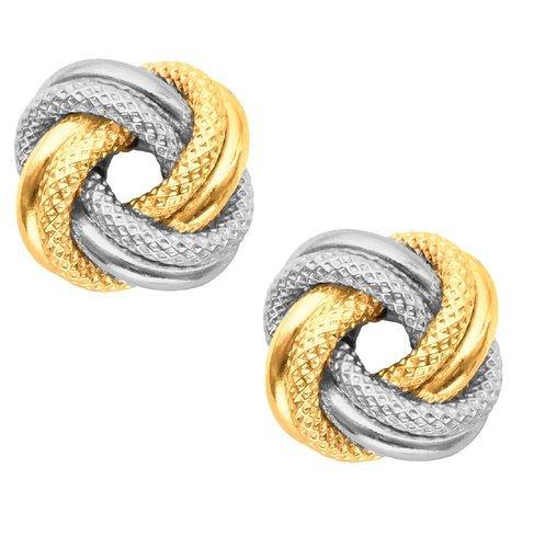 Ritastephens 10k Yellow White Two-tone Gold Love Knot Loveknot Stud Earrings 9mm ()
