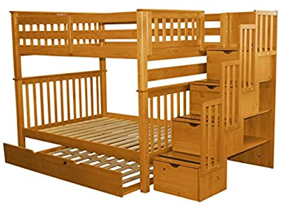 Bedz King Stairway Bunk Bed Full over Full with 4 Drawers in the Steps and a Full Trundle, Honey