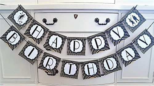 (Great Gatsby Roaring 20's Happy Birthday Banner, Customizable Happy Birthday Party Banner, Vintage 20s Great Gatsby Party Theme Banner in Black and Gold, Party)