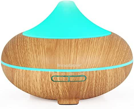 InnoGear 500ml Aromatherapy Essential Oil Diffuser Wood Grain Aroma Diffusers Cool Mist Humidmifier with Timer Adjustable Mist 7 Color Changing Night Lights Waterless Auto Shut-off