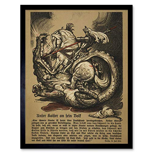 Propaganda War WWI Start Kaiser Wilhelm Ii George Dragon, used for sale  Delivered anywhere in Canada