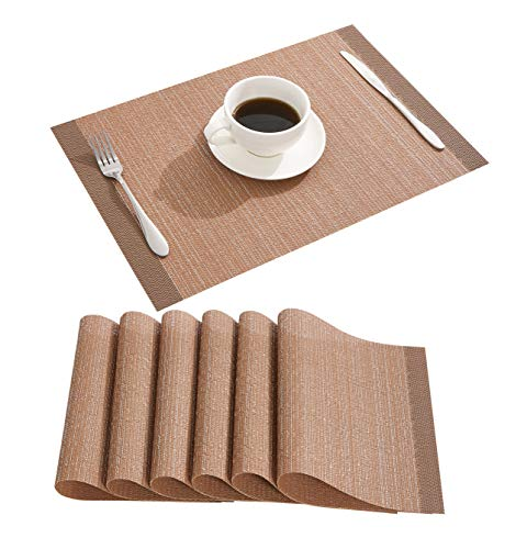 Nacial Place Mats Coffee Placemats Set of 6 Metallic Heat Resistant Table Mats Non-Slip Glitter Table Placemats for Dining Kitchen Reataurant Table