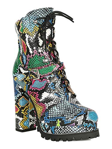 Women D-Ring Lace Up Lug Chunky Platform Booties RI03 - Snake (Size: -