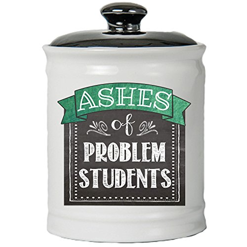 Tumbleweed - Students - Ashes of Problem Students - Round White Ceramic Jar with Black Lid - Teacher Gifts - Piggy Bank - Coin ()
