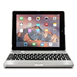 iPad 2 3 4 keyboard case - COOPER KAI SKEL P1 Bluetooth Wireless Keyboard Portable Laptop Macbook Clamshell Case Cover with Rechargeable Battery Power Bank for Apple iPad 2nd 3rd 4th generation Silver