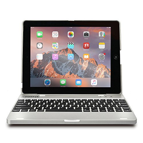 Apple iPad 4 keyboard case, iPad 3 keyboard case, iPad 2 keyboard case- [Bluetooth iPad Keyboard Case + Rechargeable Power Bank] COOPER KAI SKEL P1 Wireless Clamshell Design, 2800 mAh Battery (Silver) (With Apple Case For Ipad Keyboard)