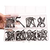 77PCS Antique Brass Plated Eye Bolt Assortment Includes Cup Hooks, Eyes,Screw in Hooks and More