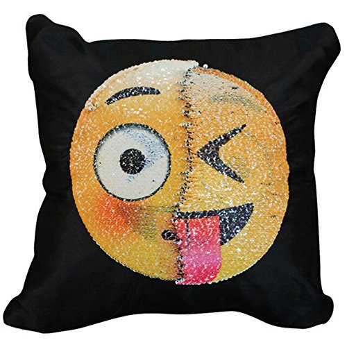 Ehonestbuy Reversible Sequin Pillow Case - Emoji Two Face Throw Cushion Cover Zippered Square Decorative Pillowcase for Sofa Home Decor DIY (Daze + Naughty)