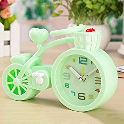 XENO-Creative Bicycle Model Alarm Clock Wake up Timer Home Décor Room Ornament Gift(green)