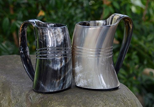 VIKING DRINKING HORN MUG (set of two) Handcrafted Ox Cup Goblet - Drink Mead & Beer Like Game of Thrones Heroes With This Large Ale Stein - Great Craftsmanship A Perfect Present For Real Men