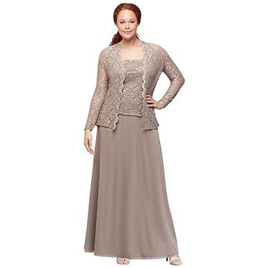 David\'s Bridal Plus Size Sequin Lace and Chiffon Two-Piece Plus-Size ...