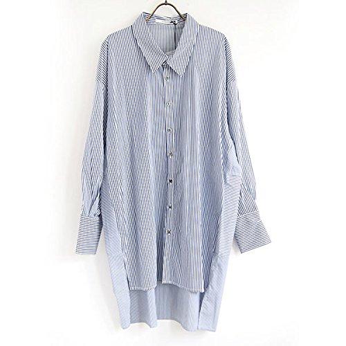 キャンディートレイルデモンストレーションバイヤーズセレクト Buyer's Select ストライプロング丈ビッグシャツ 1472-023 BLUE M