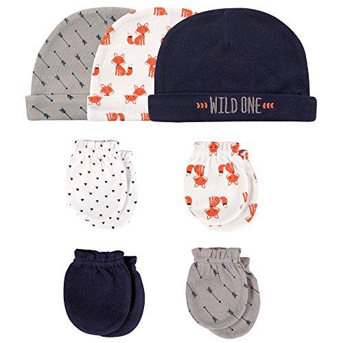 Infant Scratch Mittens (Hudson Baby Baby Infant Cotton Cap and Scratch Mitten Set, 7 Piece, Foxes, 0-6 Months)