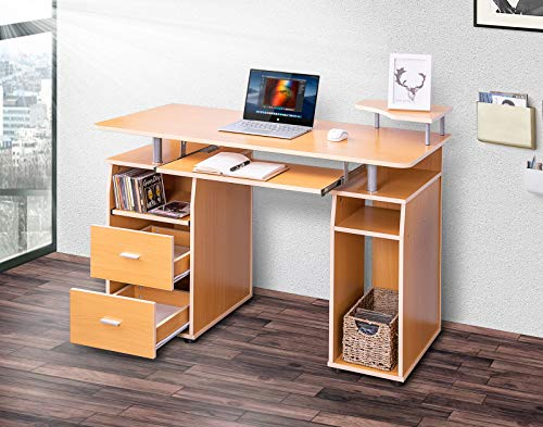 MIERES Essential Home Office Computer Desk with Pull-Out Keyboard Tray and 2 Drawers (Oak)