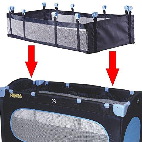 Einhang / Einlage für Reisebett Babybett Kinderbett Reisebetteinhang 120 x 60 cm in 3 verschiedenen Farben (Grau)