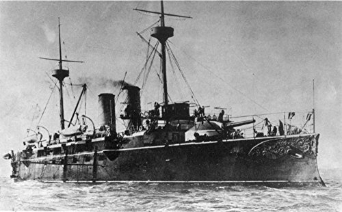 (Spanish Warship 1898 Nthe Spanish Armored Cruiser Vizcaya Destroyed By The American Fleet At The Battle Of Santiago De Cuba 3 July 1898 Contemporary Photograph Poster Print by (18 x 24))