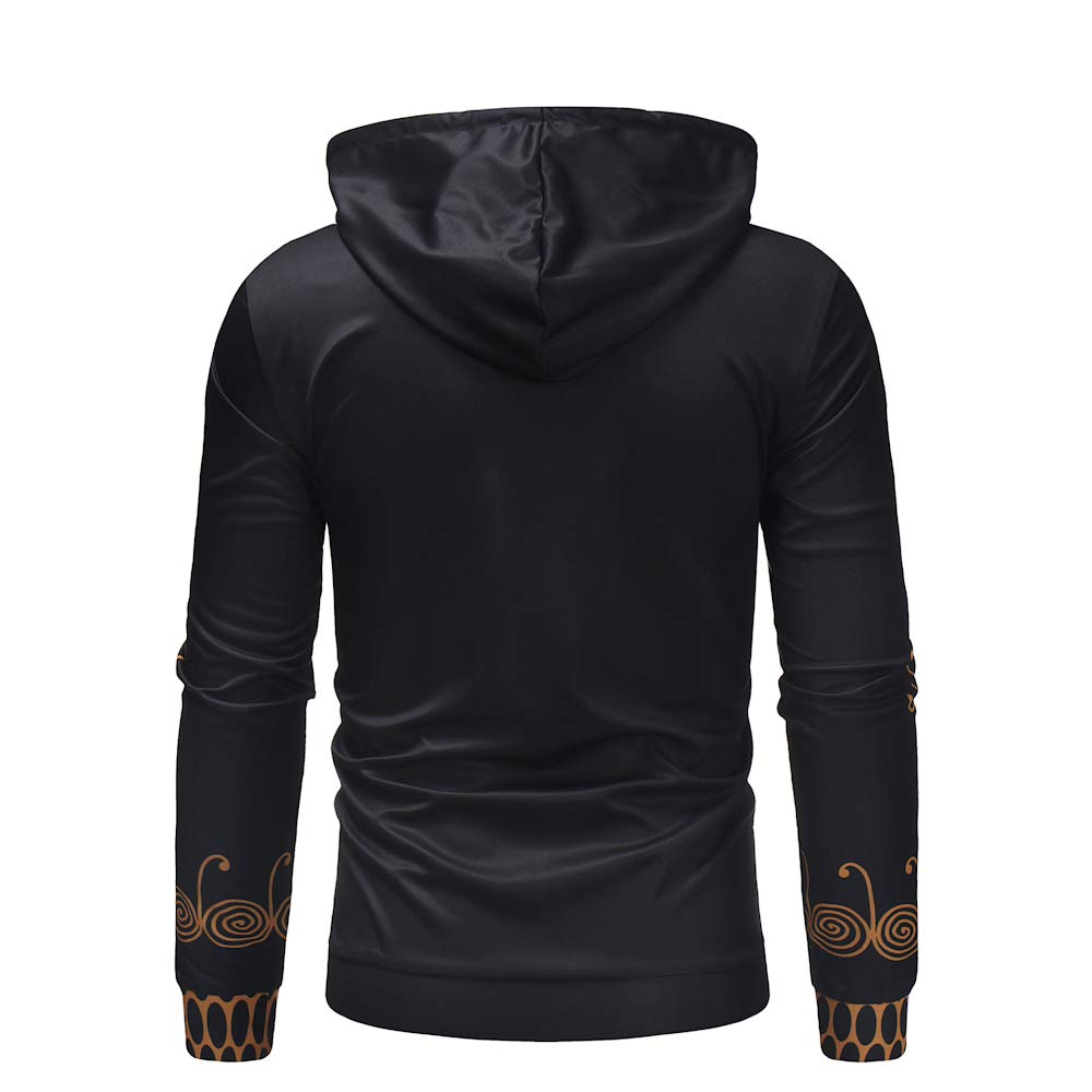 Mens Hooded Creative Digital Print Folk Style Pattern Pullover Casual Sweatshirt Hoodies