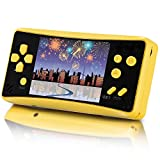 X-JJFUN Handheld Game Console for Kids Adults, Portable Classic Game Consoles Built in 218 Games 3.5 Inch 1 USB Charge Retro Arcade Video Game Player, Birthday Gift for Children-Lemon Yellow