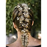 Kercisbeauty Handmade Wedding Teardrop Pearl Beads Headband with Leaves Leaf Boho Headpiece for Brides Prom Hair Dress (Silver)