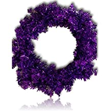 """Custom & Unique (24"""" Inches) 1 Single Large Size Decorative Holiday Wreath for Door w/ Ribbons Bows Ornament Balls Violet Plain Christmas Winter Candy Cane Bright Holiday Festive Style (Purple)"""