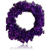 "Custom & Unique (24"" Inches) 1 Single Large Size Decorative Holiday Wreath for Door w/ Ribbons Bows Ornament Balls Violet Plain Christmas Winter Candy Cane Bright Holiday Festive Style (Purple)"