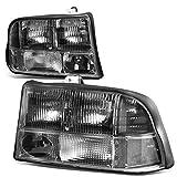 GMC Sonoma / Jimmy / Oldsmobile Bravada Pair of Headlight Lamp (Black Housing Clear Corner)