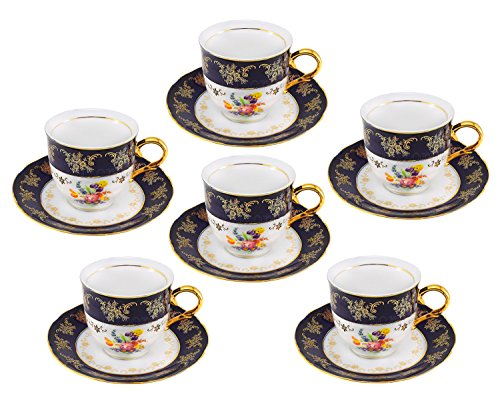 - Euro Porcelain Premium 12-pc Dark Cobalt Blue Tea Cup Coffee Set, Vintage Floral Pattern, 24K Gold-Plated Ornament, Tea Service for 6, Original Czech Tableware