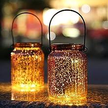SUNWIND Solar Mercury Glass Jar Lights - 2 Pack Bronze Table Lamps Hanging Indoor Outdoor Lights for Patio Garden Lawn Wall Décor