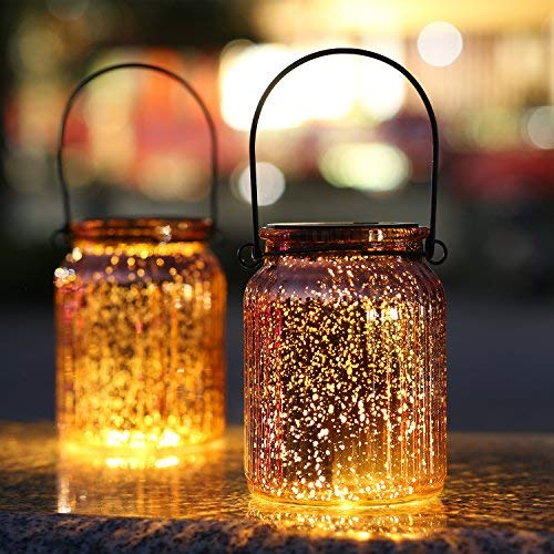 - SUNWIND Solar Mercury Glass Jar Lights - 2 Pack Bronze Table Lamps Hanging Indoor Outdoor Lights for Patio Garden Lawn Wall Décor