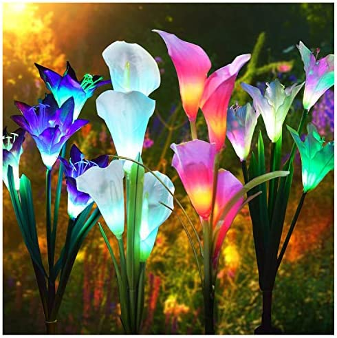 J JHOUSELIFESTYLE Solar Flower Grave Lights for Cemetary Decorations – 4 Pack Calla Lilly Solar Flowers Lights Grave Decorations for Cemetery Lily Calla 4 Pack