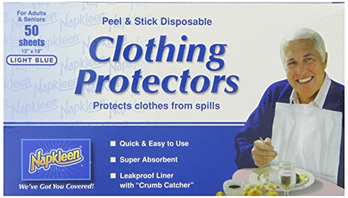 Napkleen Disposable Clothing Protector, Light Blue Pattern, 50 Sheets (Everyday Bib)
