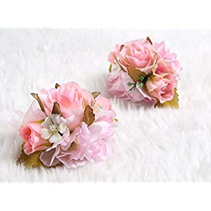 Charming Flower Boutonniere Pins for Wedding prom (2pcs) (Pink theme) 3