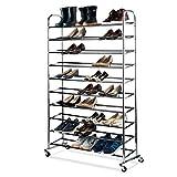 Shoe Organizer - Chrome Shoe Storage Supreme 50 Pair Shoe Rack Closet Shoe Organizer
