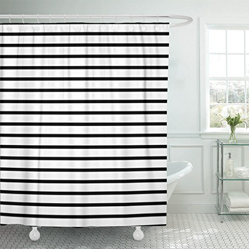 (Emvency Shower Curtain Colorful Stripe Thin Black and White Striped That is Repeats Small Abstract Waterproof Polyester Fabric 72 x 72 inches Set with Hooks)