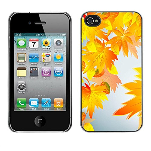 ( autumn leaves nature clip art ) APPLE iPhone 4 / 4S Hard Printing Protective Cover Protector Sleeve Shell Case Cover