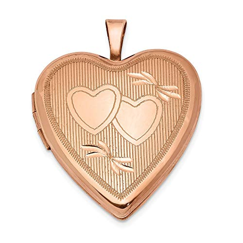 FB Jewels Solid Sterling Silver Rose Gold-Plated 20mm Double Hearts Heart Locket