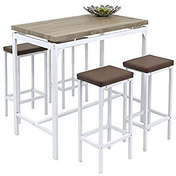 Gr8 Home High Counter Bar Set 5 Piece Breakfast Table And Chairs Bistro Pub Kitchen Dining