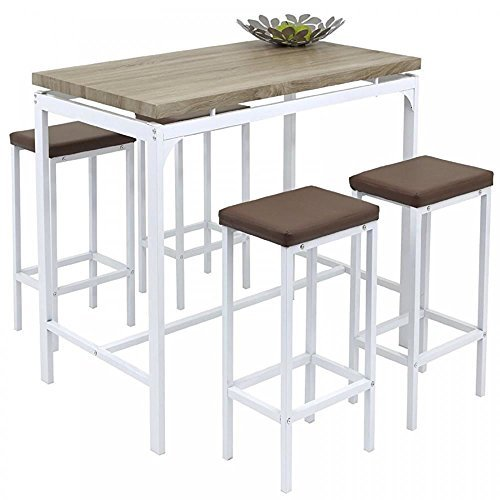 High Kitchen Tables And Stools: Gr8 Home High Counter Bar Set 5 Piece Breakfast Table And